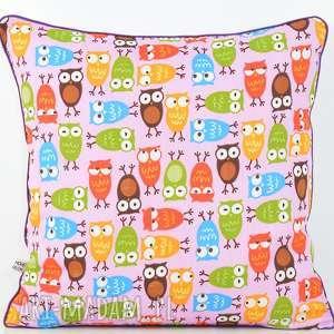 poszewka na poduszkę 40x40cm - sowy - poduszka, przytulanka, bawełna, prezent
