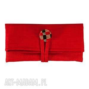 11-0003 Mała czerwona torebka kopertówka wizytowa NIGHTINGALE, małe-torebki-do-ręki