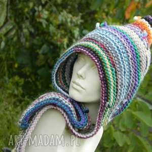 Czapa etno elf 100% wełna czapki aga made by hand elf, kolorowa