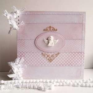 hand-made scrapbooking albumy różowy album z aniołkiem/25x25cm