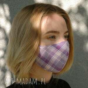 maseczki maseczka profilowana w kratkę fioletową, maseczka, maska, ochronna