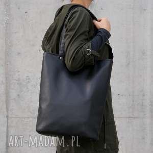 Shopper czerń gładki na ramię manufakturamms torba, torebka