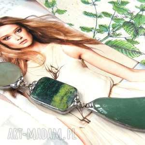 secesyjny wisiorek z łańcuszkiem zielono-seledynowy, długi naszyjnik