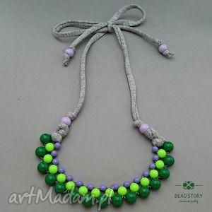 Naszyjnik z korali zielonych i fioletowych, korale, kolorowe, akryl, sznurek, bawełna