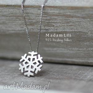 925 srebrny łańcuszek pŁatek Śniegu - śnieg, naszyjnik, zima