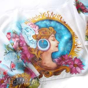 szal jedwabny w stylu secesyjnym art nouveau ręcznie malowany kwiaty na podstawie