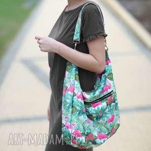 Kolorowa torba palmy flamingi liście tropikalne, torba-z-flamingami, torebka-flamingi