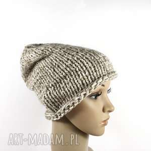 czapki gruba czapka unisex melanżowa zrobiona na drutach, unisex