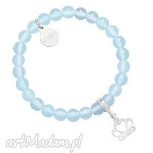 bransoletki błękitna bransoletka ze srebrną koroną wysadzaną swarovski crystal