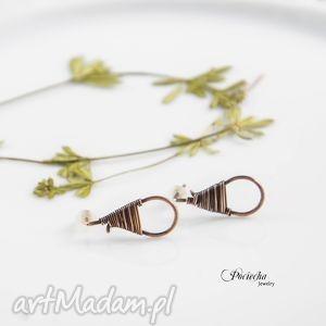 Drop - kolczyki sztyfty z miedzi, kolczyki, sztyfty, wkrętki, miedź, pociechajewelry
