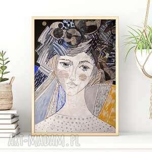 plakat a4 - kosmos, plakat, dziewczyna, kobieta, twarz, portret, wydruk plakaty