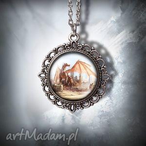 medalion smok - dragon zdobiony, naszyjnik, medalion, medalik, łańcuszek