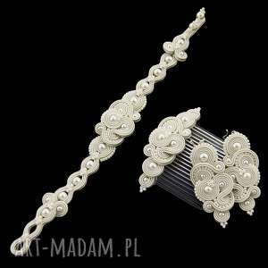 komplet ślubny mirino pearl soutache, sutasz, romantyczny, zestaw,