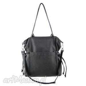 amber - duża torba shopper grafitowa plecionka, duża, pojemna