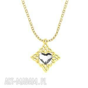 celebrate - swarovski heart - necklace g - ,swarovski,celebrytka,serce,święta,pozłacane,