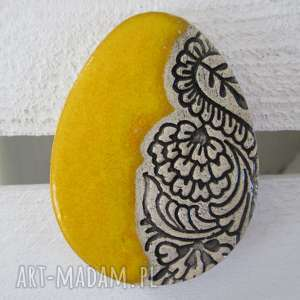dekoracje magnes jajko, pisanka, ceramiczne, wielkanocne, folkowe, żółte
