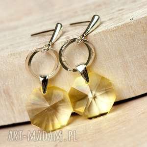 a595 srebrne kolczyki z żółtymi kryształami - sztyfty wiszące