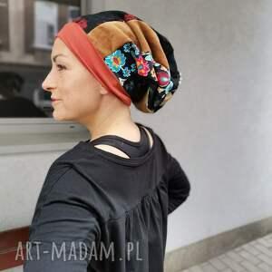 ręczne wykonanie czapki czapka damska etno boho wiosenna folk, na podszewce, rozmiar
