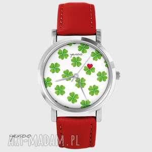 ręcznie zrobione zegarki zegarek - lucky heart czerwony, skórzany