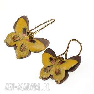 kolczyki z żółtymi motylami c319 - kolczyki z motylami, żółte