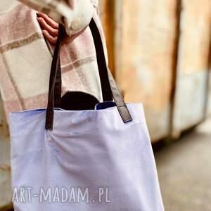 na ramię torba mr m velvet lawenda/uszy skóra naturalna, shopper