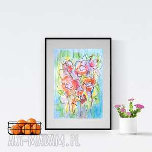 kwiaty obrazek ręcznie malowany,kwiaty rysunek,kolorowy obraz z kwiatami