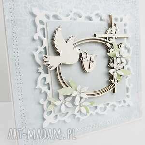 chrzest - kartka w pudełku, pamiątka, życzenia narodziny