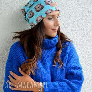 ręczne wykonanie czapki czapka w bobry zwierzętya niebieska kolorowa beanie