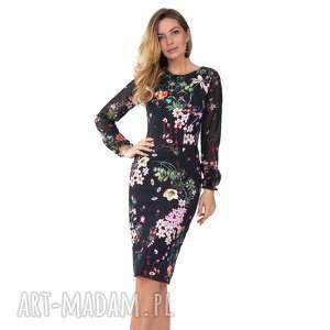 Sukienka LIDIA Midi Aurelia, dopasowana, kropki, midi, falbanki, ołówkowa, kwiaty