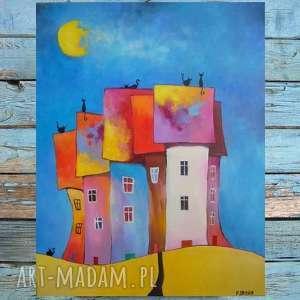 obraz na płótnie - miasteczko kotów 40/50 cm, abstrakcja, koty, obraz