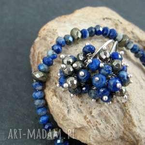 hand-made kolczyki lapis lazuli i piryt
