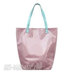 torba shopper neon pudrowy rÓŻ - duża, na plażę, pojemna, na zakupy