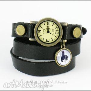 bransoletka, zegarek - czarny koń czarny, skórzany, zegarek, kwarcowy