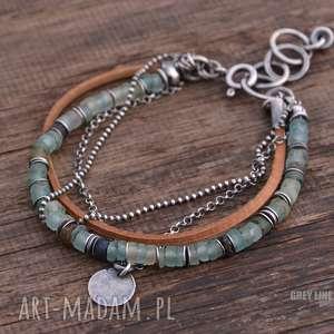 ręczne wykonanie bransoletki szkło antyczne i rzemień bransoletka