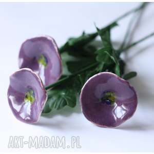 Polne fioletowe kwiaty, ceramika, kwiaty