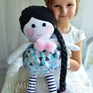 lalki lalka z warkoczem w sukience, szmacianka, pomysł na prezent, dekoracja