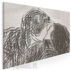 obraz na płótnie - para miłość pocałunek rysunek - 120x80