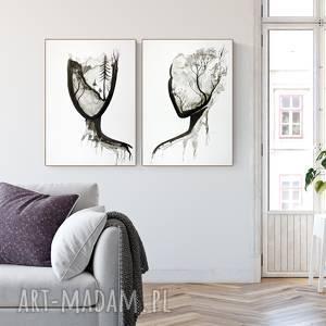 zestaw 2 grafik 50x70 cm wykonanych ręcznie, plakat, abstrakcja, elegancki minimalizm, obraz