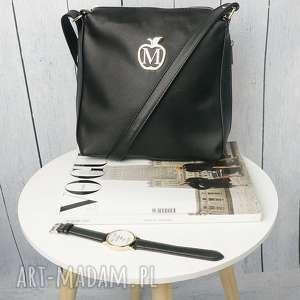 torebki torebka listonoszka manzana zameczki czarna klasyczna, torba, torebka, damska