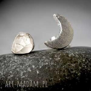 925 Srebrne kolczyki KSIĘŻYC górski - ,kamień,minerał,kryształ,górski,925,srebro,
