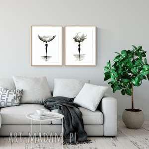 zestaw 2 obrazów A3 namalowanych ręcznie, abstrakcja, minimalizm