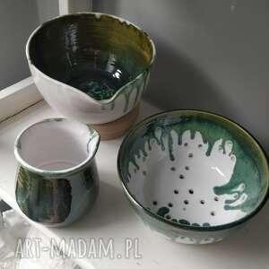 ceramika durszlak ceramiczny, miska i dzbanuszek, miska