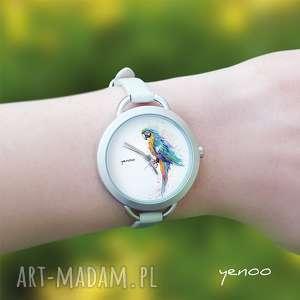 zegarki zegarek, bransoletka - turkusowa papuga, bransoletka, skórzana