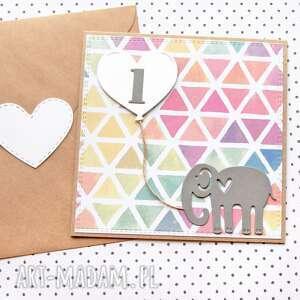 kartki kartka na roczek - słonik, roczek, urodzinki, urodziny