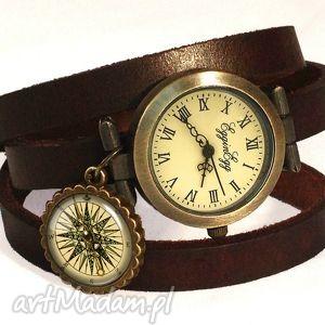 handmade zegarki kompas - zegarek / bransoletka na skórzanym pasku