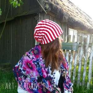 czapka wiosenna patriotka paski unisex - paski, czapka, wiosna, unisex, rower, rolki