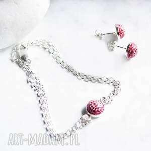 srebrny komplet bransoletka i kolczyki z piękną mozaiką, biżuterii