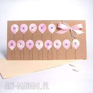 urodzinowa kartka balloons pink, urodziny