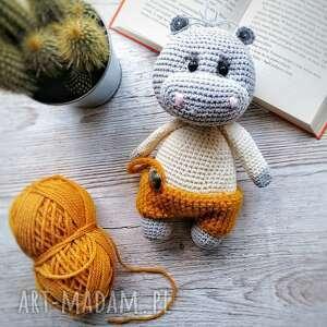 maskotki maskotka hipopotam na szydełku dziergana, upominek dla dziecka, mały