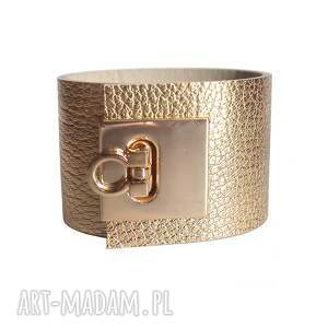 bransoleta skórzana lock złota, skórzana, skóra, elegancka